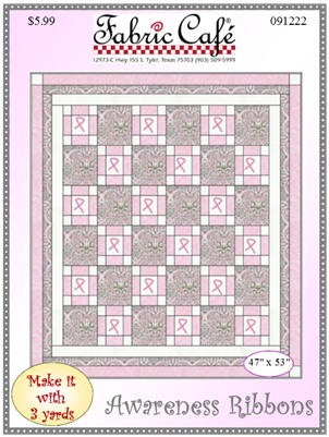 Awareness Ribbons Downloadable 3 Yard Quilt Pattern