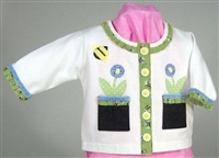 Flowers & Bees Sweatshirt Jacket Kit (Light Green on a white sweatshirt)